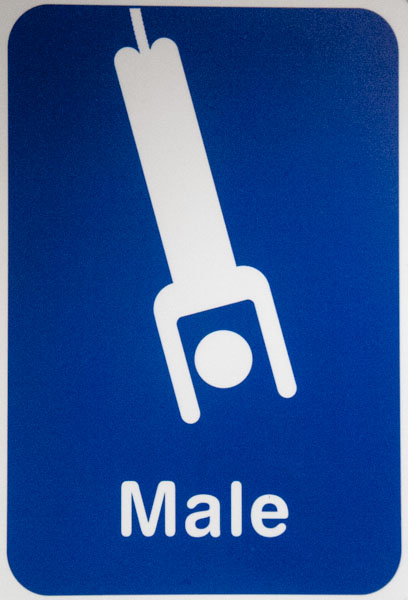Bathroom door at Kawarau Bridge, the first commercial bungee jump in Queenstown, New Zealand.