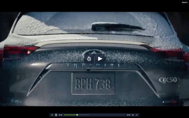 Screenshot of Infiniti QX50 rear liftgate from commercial